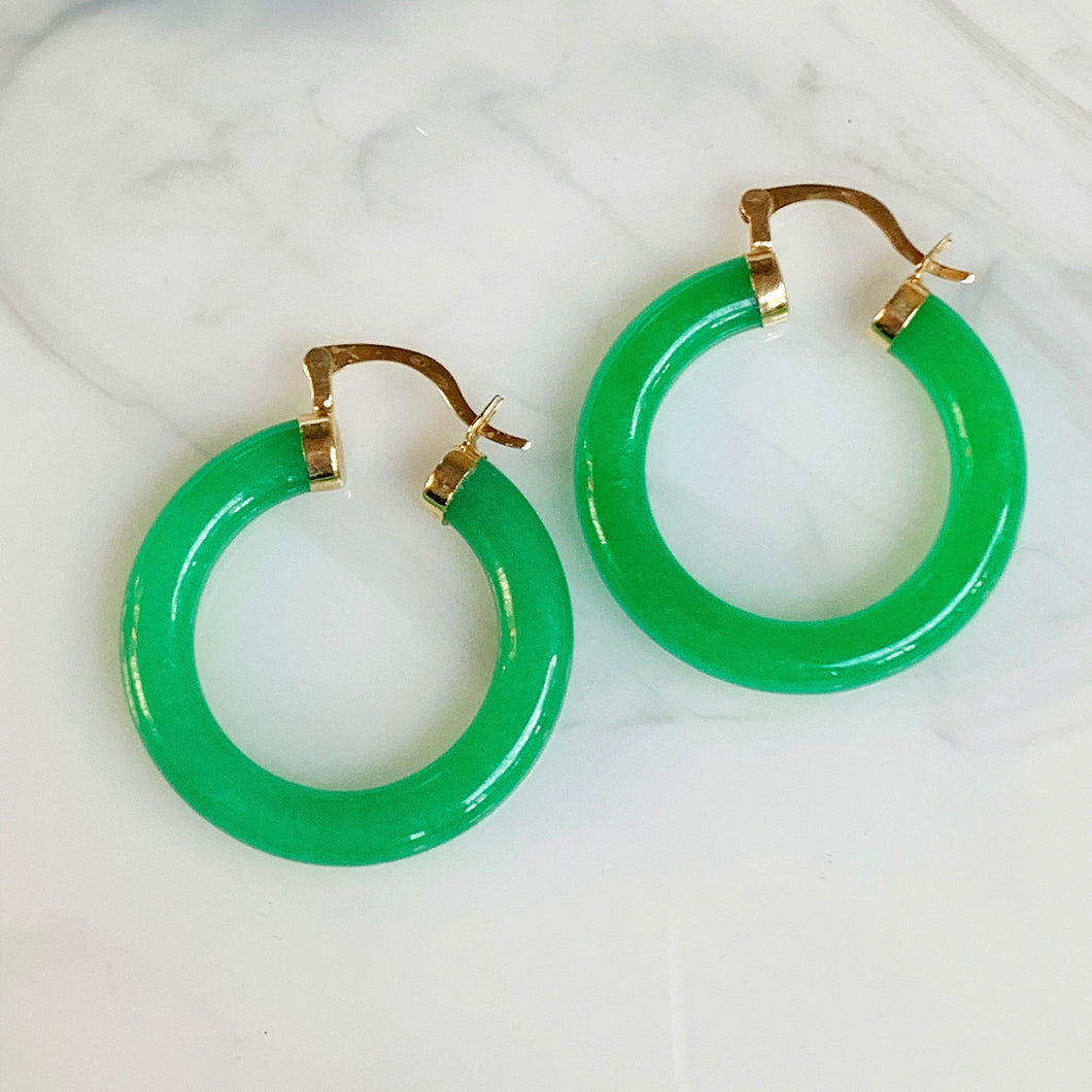14k and Genuine Jade Hoops