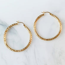 Load image into Gallery viewer, Diamond-Cut Hoop Earrings