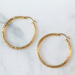 Diamond-Cut Hoop Earrings