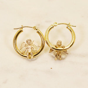 14k Hoops with Sterling Silver Nakey Cherubs
