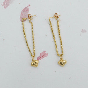 Rope Dangle Earrings with Detachable Hearts