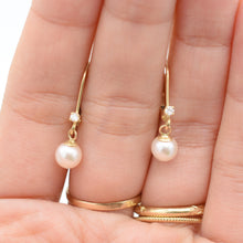 Load image into Gallery viewer, Pearl Diamond Dangle Hoops