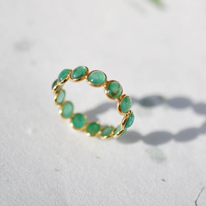 Emerald Cabochon Eternity Band