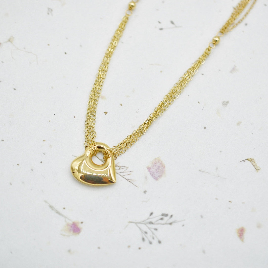 Puffy Heart Chain Necklace