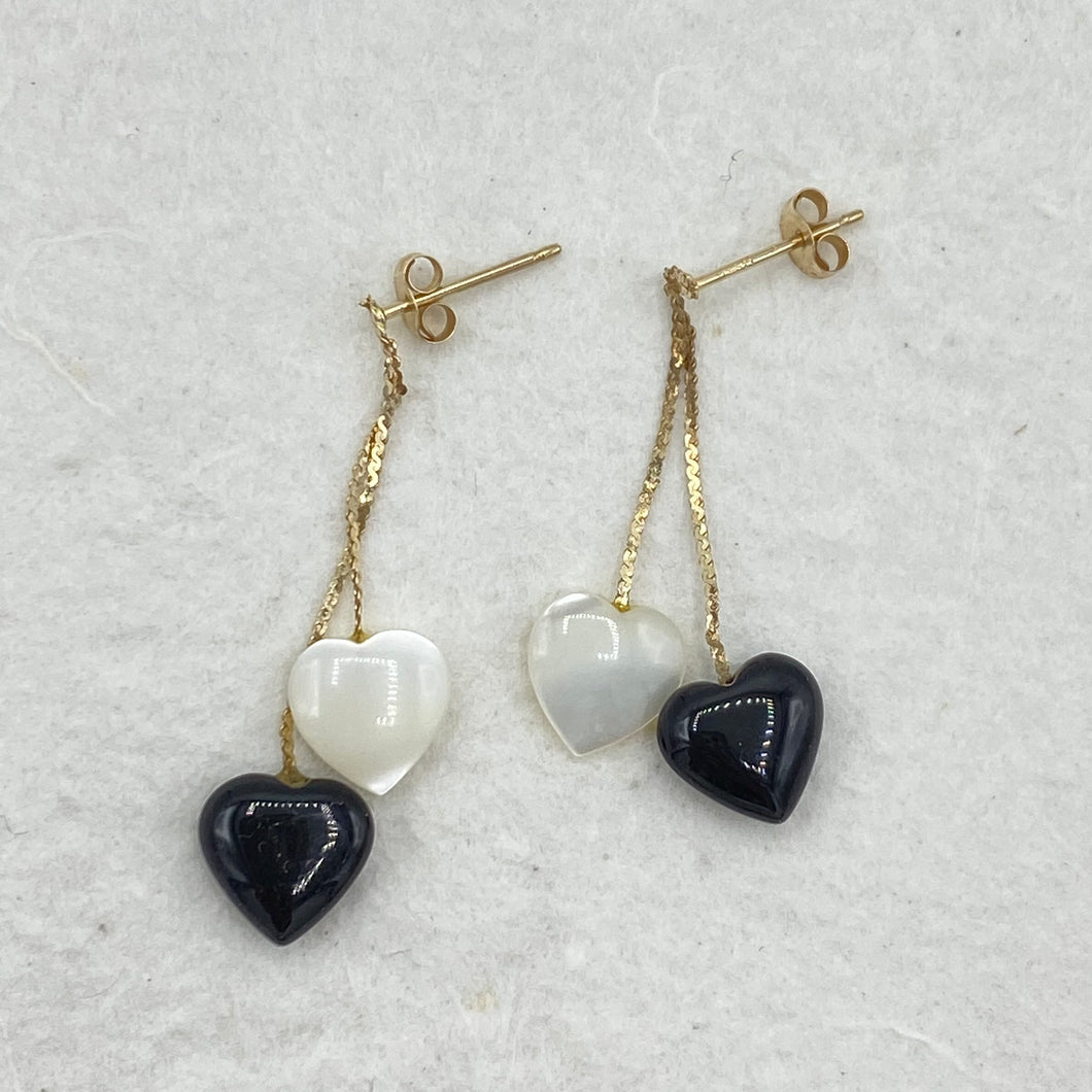 Onyx & Mother of Pearl Heart Dangles