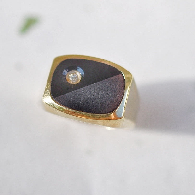 Onyx Diamond Signet