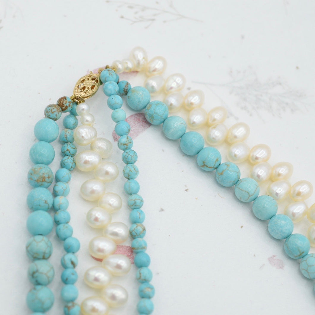 Turquoise and Pearl Statement Necklace