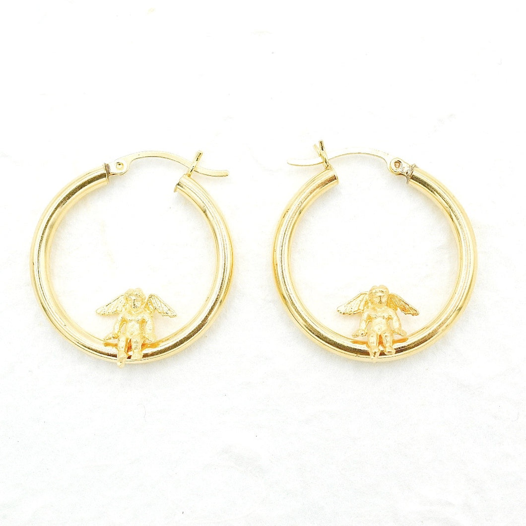 Large Cherub Hoops
