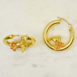 Hummingbird and Flower Hoops
