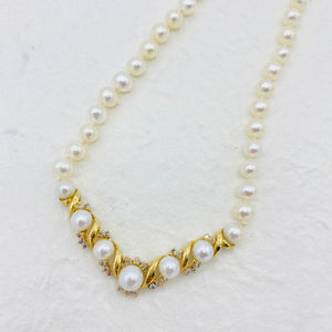 Pearl, Diamond, 14k Necklace