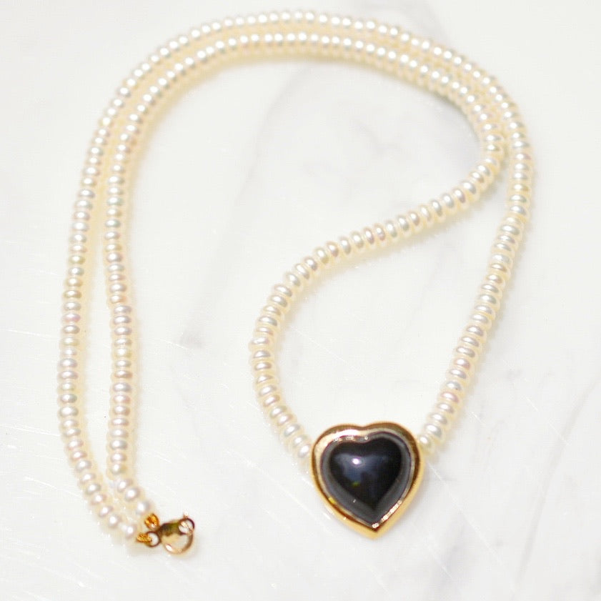 Black Heart and Pearl Necklace
