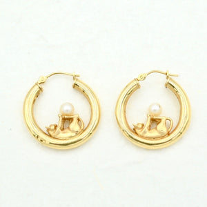KITTY CAT HOOPS WITH PEARLS