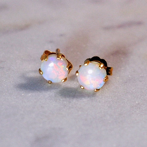 Round Fire-y Opal Studs