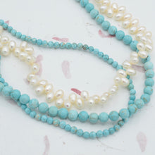 Load image into Gallery viewer, Turquoise and Pearl Statement Necklace