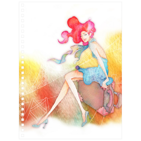 Travel Notebook with Beautiful Illustration of a Travel Girl