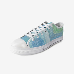 Blue Abstract Unisex Low Top Canvas Shoes