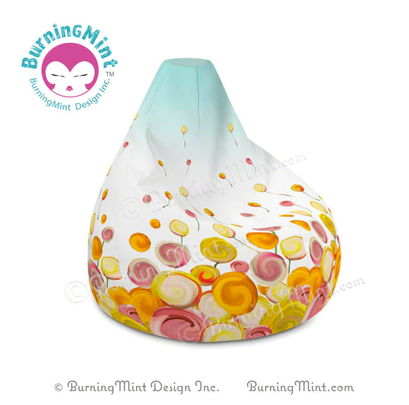 Yello bean bag chair cover, lollipop bean bag chair cover, home décor, flower bean bag chair cover, floral bean bag chair cover, candy bean bag chair cover, BurningMint bean bag chair cover,