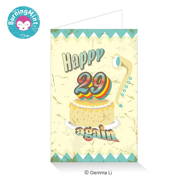 Funny Birthday Card For Age 30 and Above with Retro Designs | Happy 29 Again