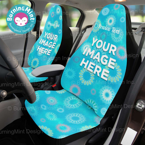 BurningMint™ Personalized Car Seat Covers [🎁 Free Shipping Worldwide!] Handmade Car Seat Covers With Fireworks Design | Custom Seat Covers for Vehicles | Car Seat Protectors | Holiday Gifts (Set of 2)