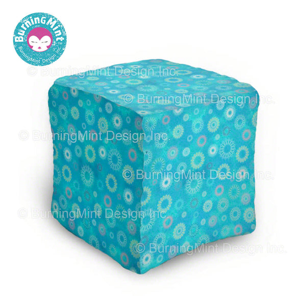 BurningMint™ Ottoman Table | Colorful Ottoman Coffee Table | Blue Ottoman with Fireworks Design