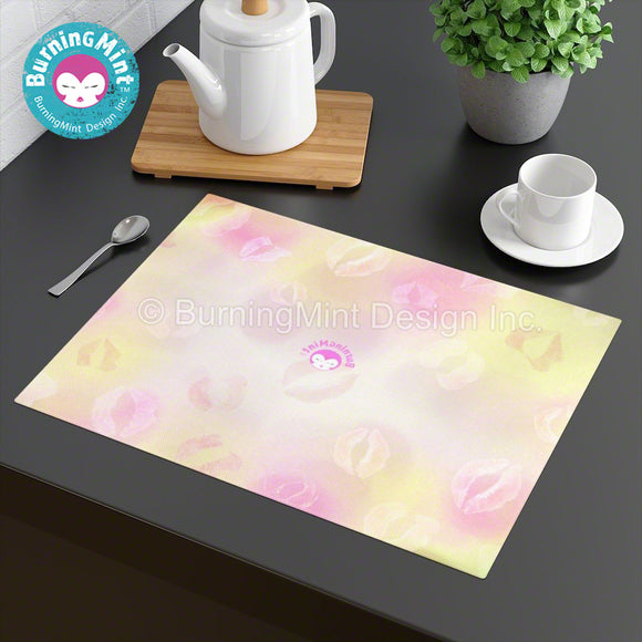 BurningMint™ Tabletop Placemats | Valentine's Day Placemats | 100% Cotton Placemats | Pink Cloth Placemats | Hemmed edge Placements | Kiss Placemats | Valentine's Day Gifts