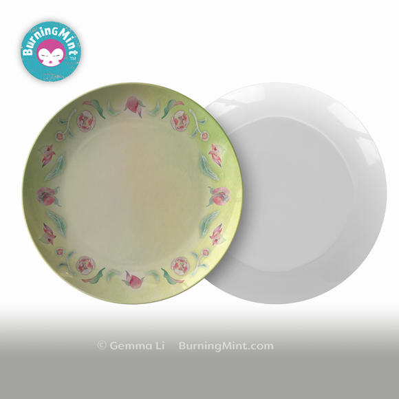 Floral plate made in USA,  Accent plate, ThermoSāf® Polymer Plate, Microwave Safe Dish, Dishwasher-Safe Tableware, BPA- Free Plate, Floral China Plate,  BurningMint Kitchen Decor™   Melamine-free plate,  Formaldehyde-free plate, Buy USA,   Annniversary gift, wedding gift, gift for couple, father's day gift, mother's day gift, valentine's day gift
