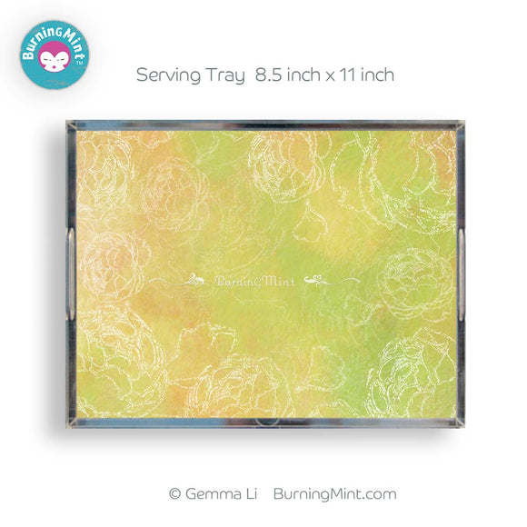 BurningMint™ Springtime Serving Tray, Beautiful Acrylic Tray, BPA-free Acrylic Tray, Clear Acrylic Tray, Kitchen Decor, BurningMint™ Serving Trays Shipped from USA
