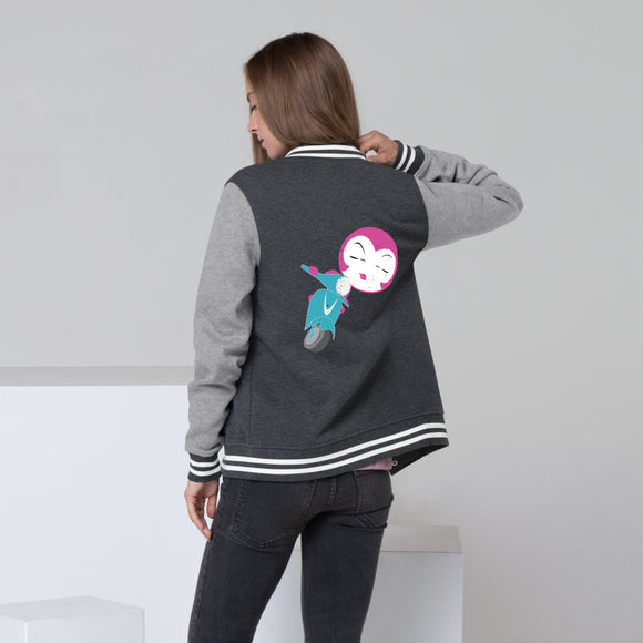 Cool Women's Letterman Jacket with Pink Girl on A Scooter
