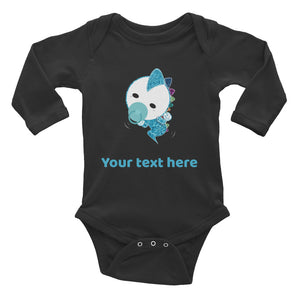 Personalized Cute Glittery Blue Baby Dinosaur Infant Long Sleeve Bodysuit
