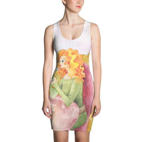 Colorful Female Illustration Sublimation Cut & Sew Dress