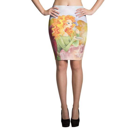 Sexy Pencil Skirt with Trendy Female Illustration