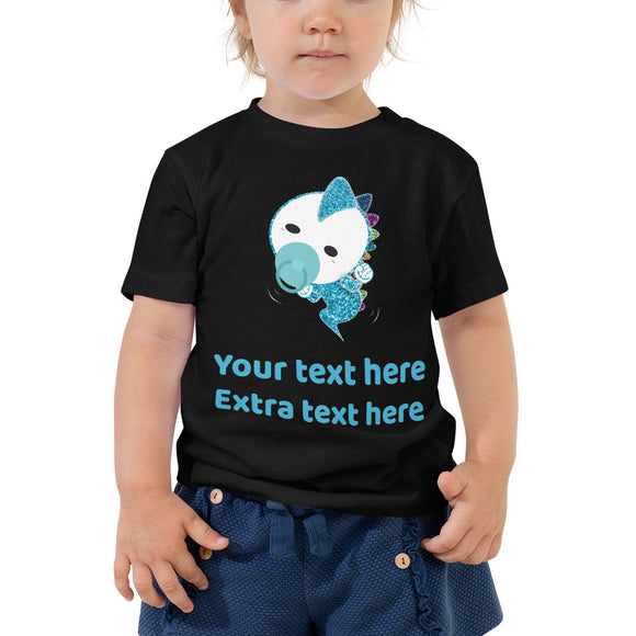 Personalized Cute Blue Baby Dinosaur Toddler Short Sleeve Tee