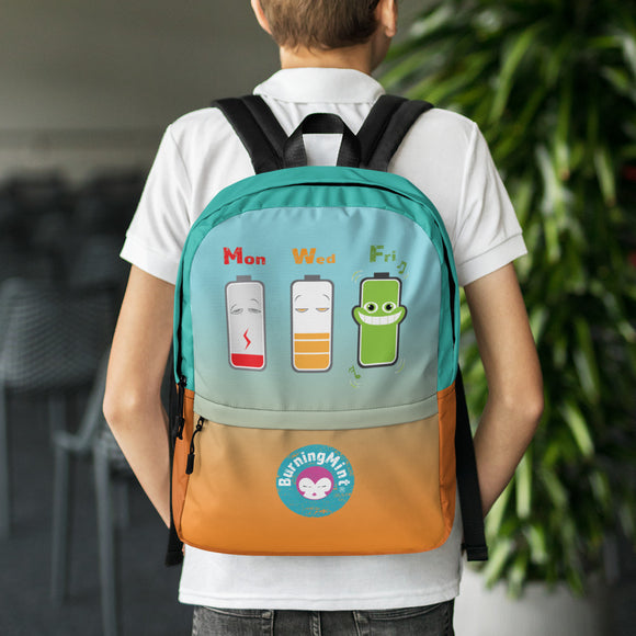Orange Cyan Backpack with Funny Battery Level Cartoon