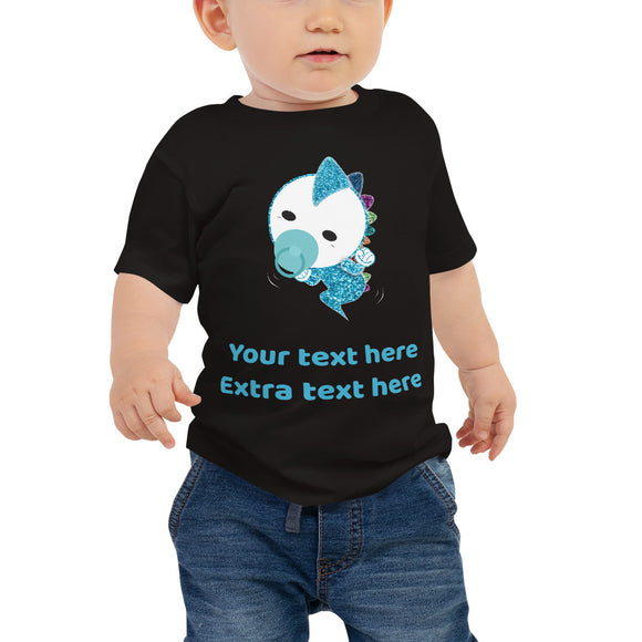 Personalized Cute Glittery Blue Baby Dinosaur Jersey Short Sleeve Tee