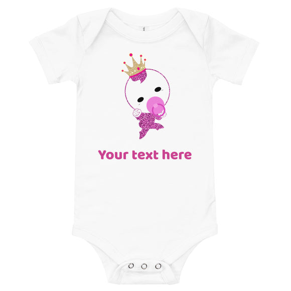Personalized Cute Glittery Princess Baby Girl Bodysuit T-Shirt