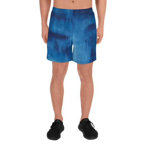 Men's Athletic Long Shorts with Cool Blue Painting