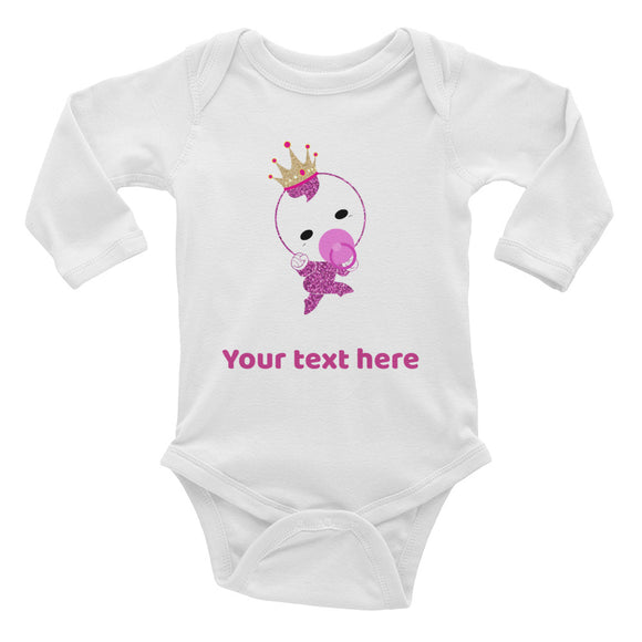 Personalized Cute Pink Glittery Princess Baby Girl Infant Long Sleeve Bodysuit