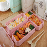 Vertical Lunch Box, 3-layered Stackable Lunch Box, Microwavable Lunch Box, 3 Layer Wheat Straw Bento Boxes (📫 📫 📫 Free-shipping)