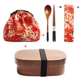 Wooden Lunch Box Set with a Bag, Spoon, Fork & Chopsticks | Japanese Bento Box for School Kids |  Dinnerware Set | Oval, Around, Rectangular Lunch Box