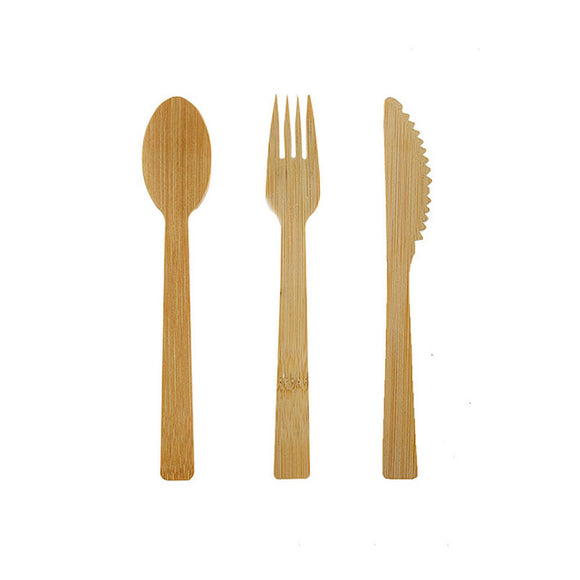 Eco-Friendly Tableware, Biodegradable Kitchen Utensils, Bamboo Cutlery Set, Wooden Knife Fork Spoon, Flatware Set