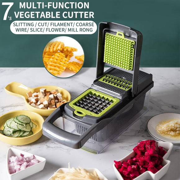 Multifunctional slicer, mandoline slicer, All-in-one slice,  Vegetable Fruit Slicer, garlic Grater, fruit Cutter, fruit Peeler, fruit slicer, fruit choppers,   vegetable choppers, vegetable cutter,  vegetable peeler, vegetable slicer,  Multifunctional Grater, Drain Basket Kitchen Chopper,  Chopper With Container, Slicer With Container