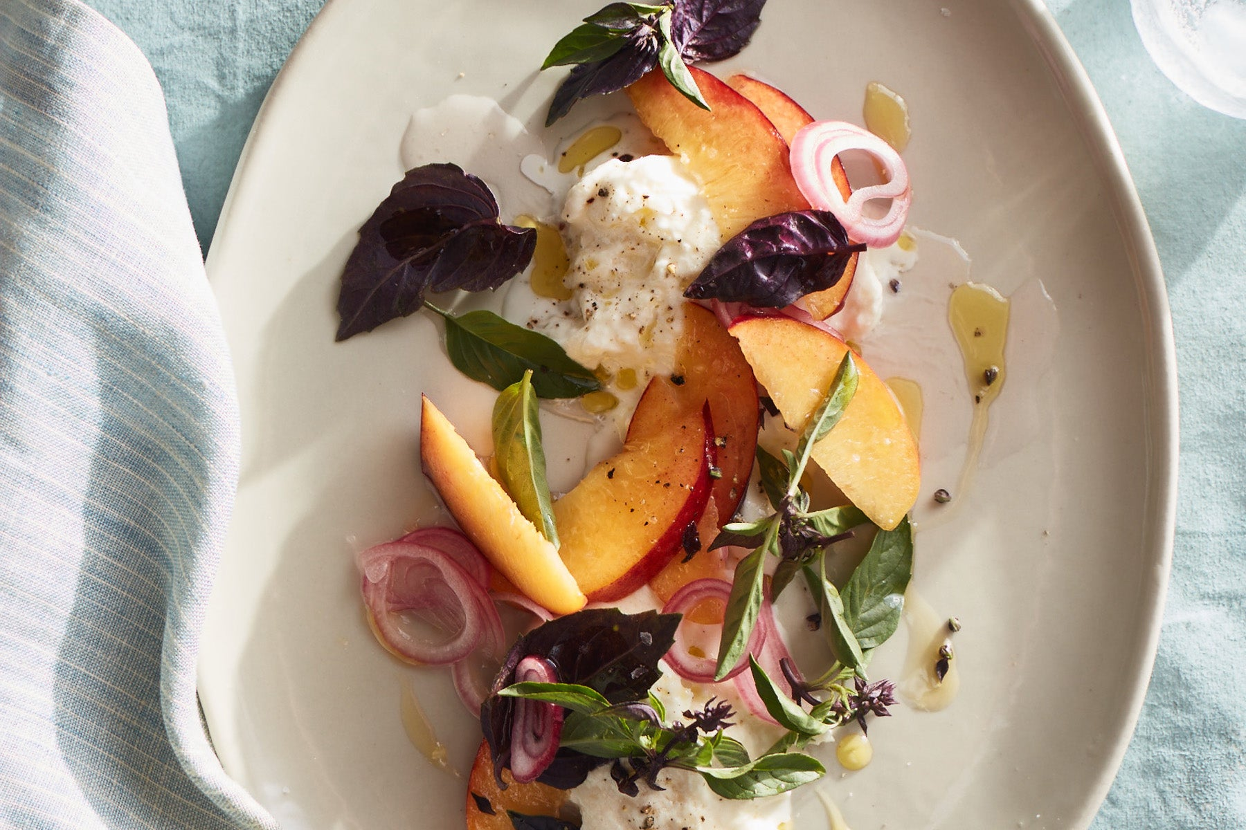 Peaches and Burrata with Pickled Shallot
