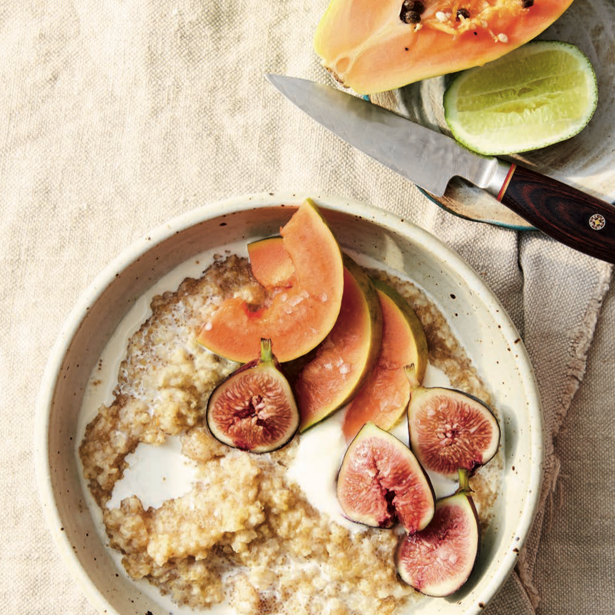 Millet and Amaranth Porridge with Figs and Papaya