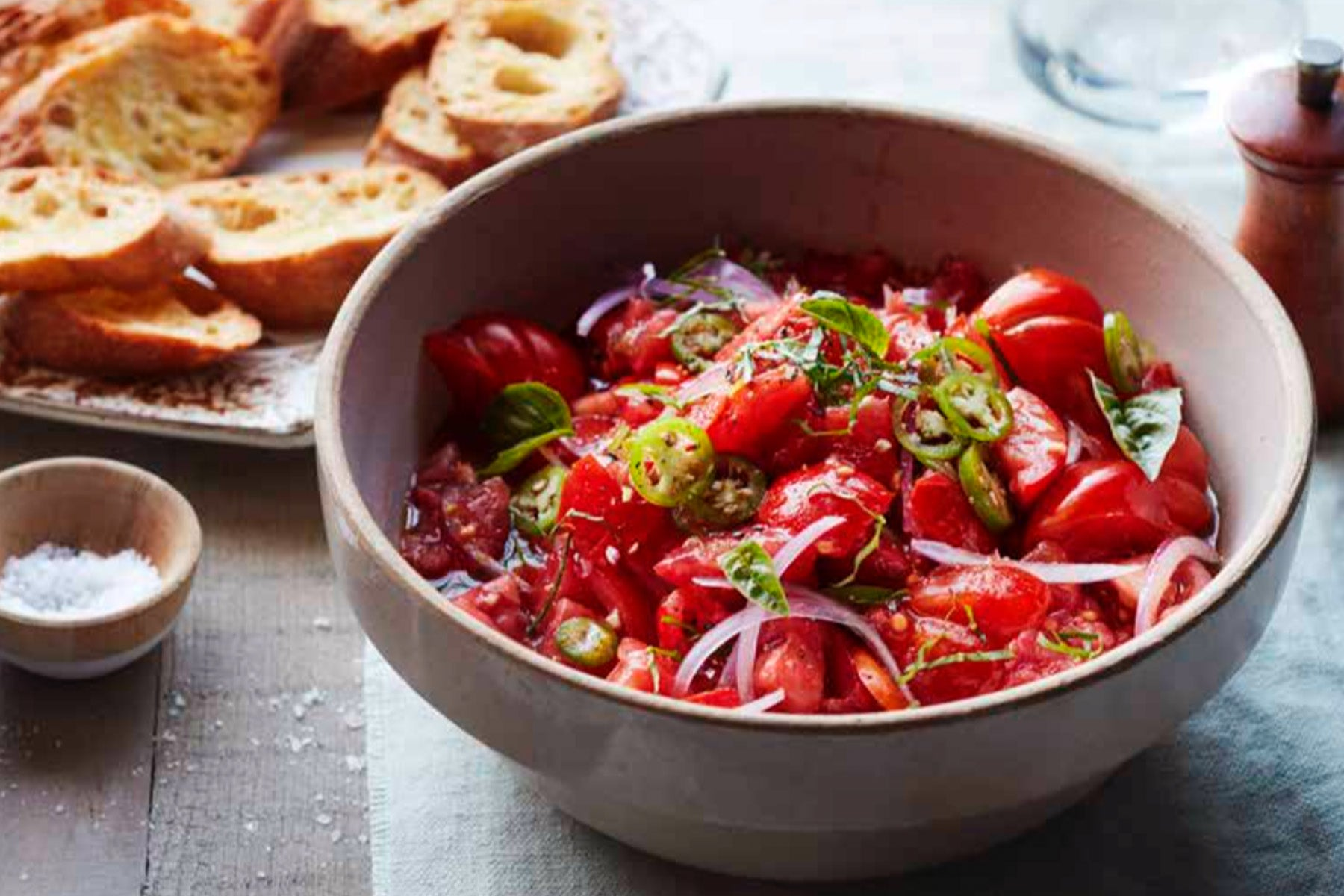 Grandma's Simple Tomato Salad with Buttery Crostini