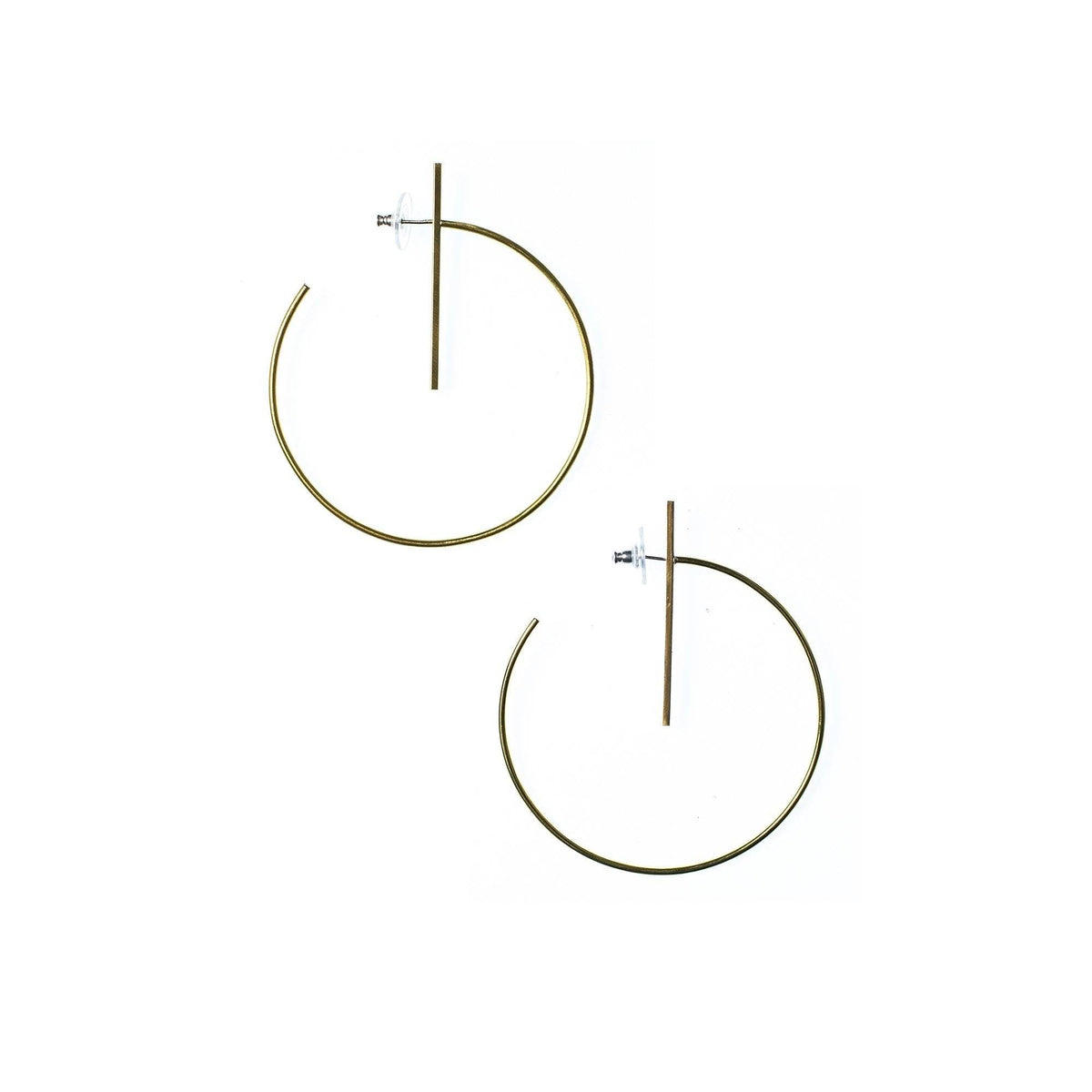 Large Lined Circle Hoops Brass