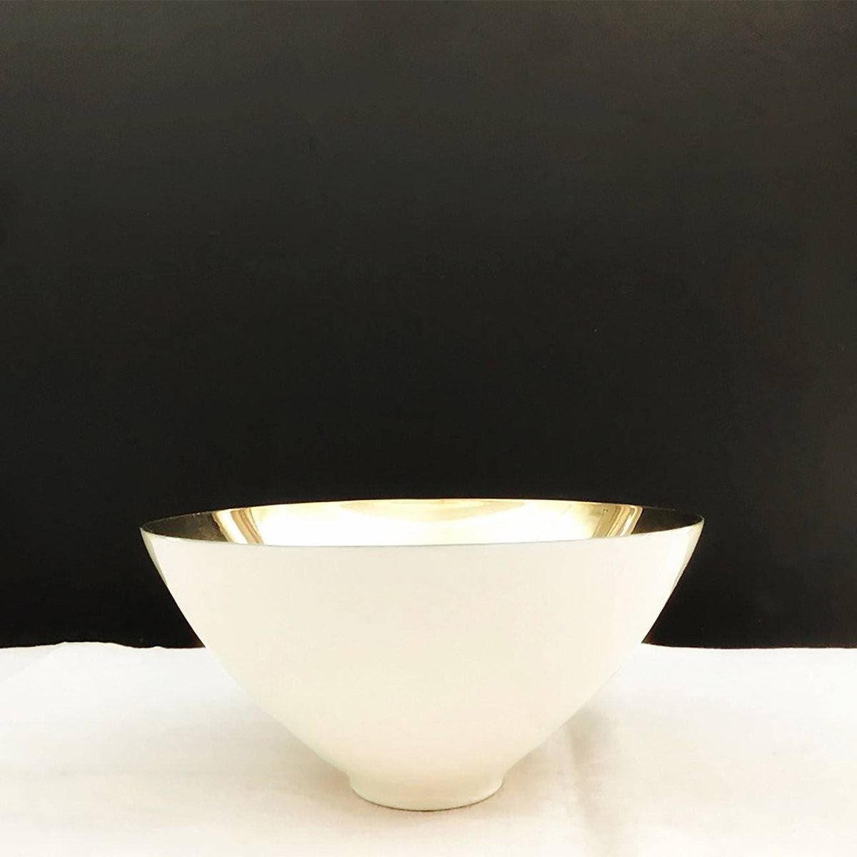 Enamel and Brass Plated Bowl-Tall