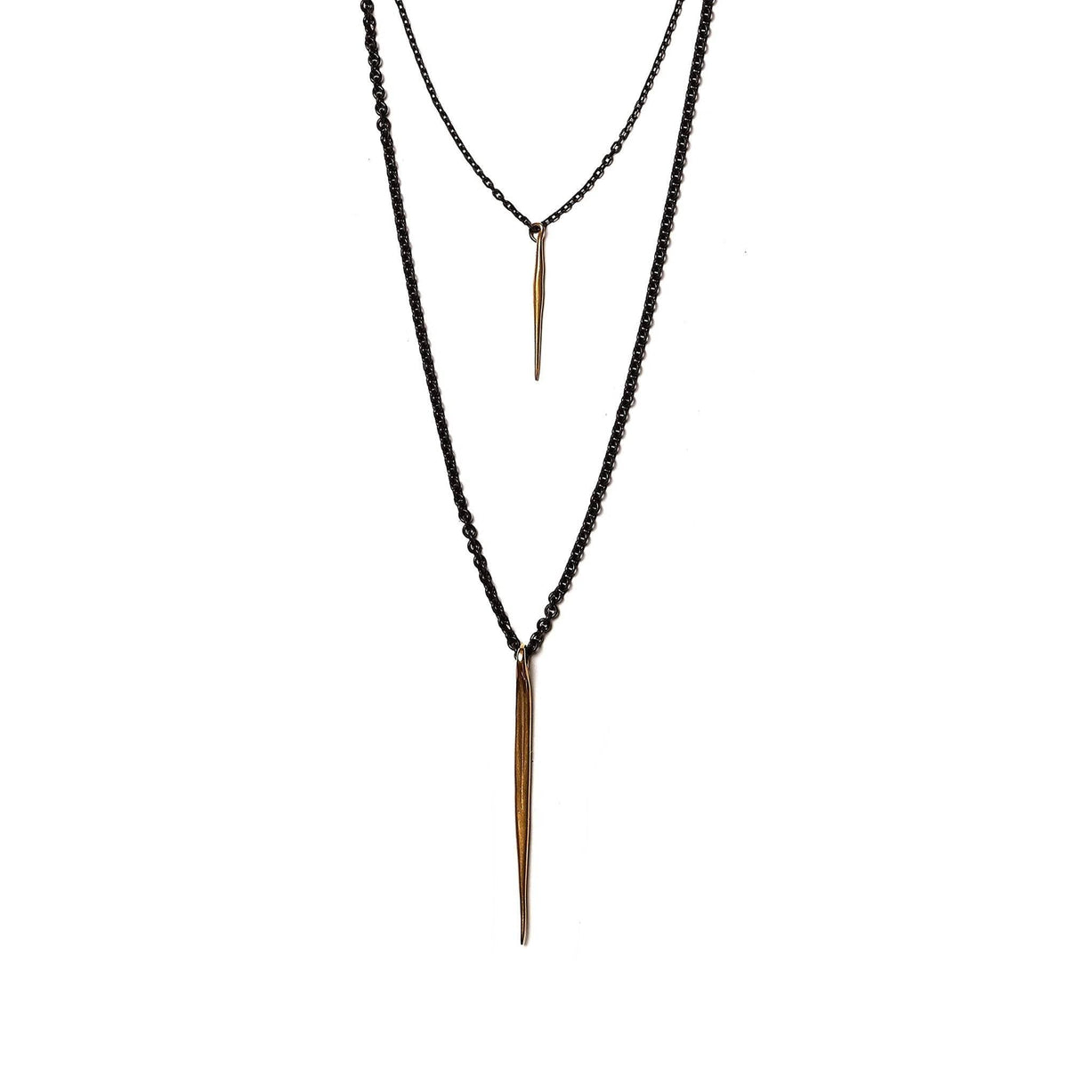 Triple Layer Choker with Quill Spike Drops Brass