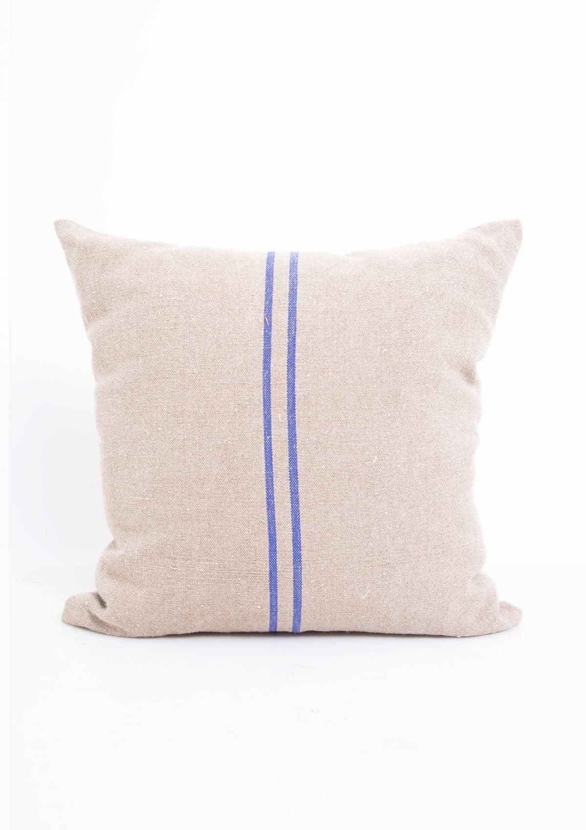 Vintage Linen Pillow, Blue Stripe