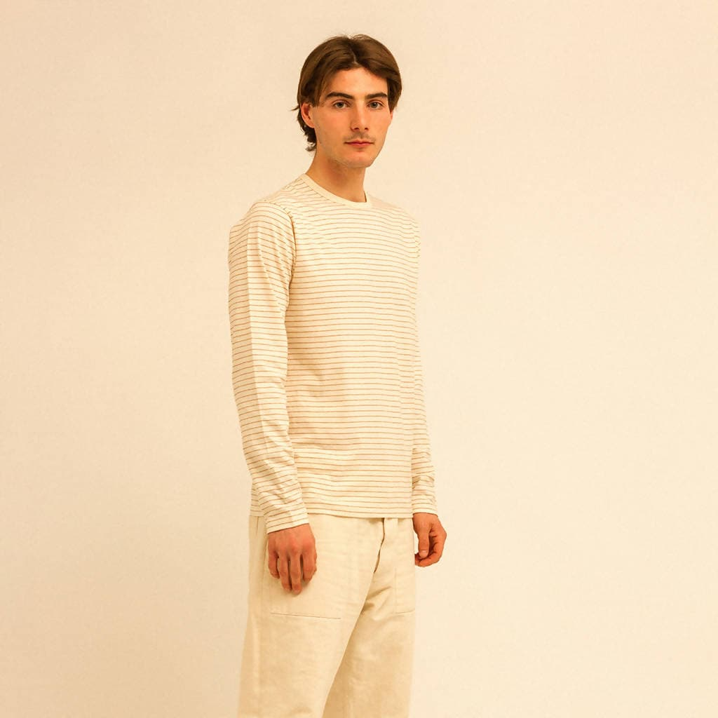 NATURAL WITH STRIPE LONG-SLEEVE