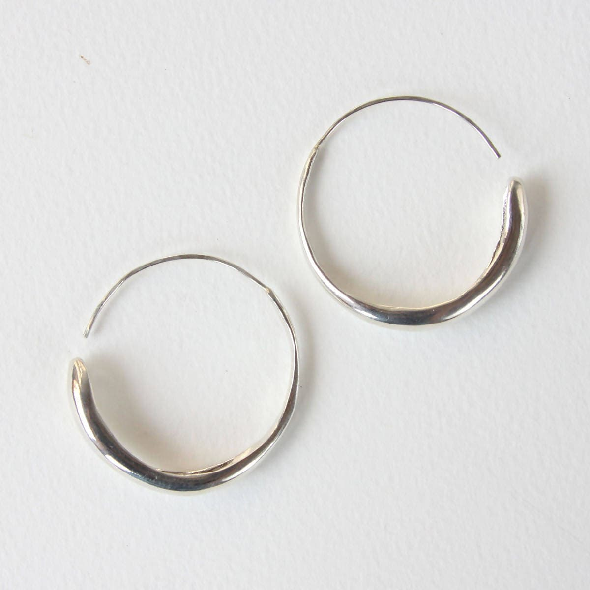 Large Fluent Hoops - Sterling Silver
